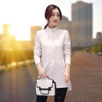 衬衣女中长款2018春季新款韩版半高领修身显瘦百纯色塔衬衫打底衫
