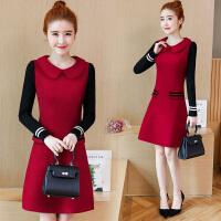 冬天连衣裙女新款韩版显瘦时尚修身打底裙中长款百搭长袖裙子