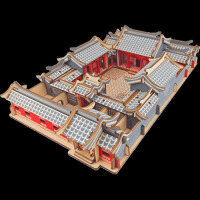木制拼装古建筑模型天坛四合院积木质立体拼图玩具