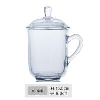 家用耐热玻璃茶杯办公室泡茶杯子带把茶水杯带盖杯茶具 (6号)360ML