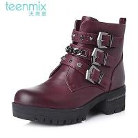 Teenmix/天美意专柜同款打蜡牛皮女靴6SR41DD5