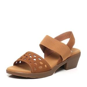 BATA/拔佳夏季专柜同款磨砂牛皮/橡筋粗跟女凉鞋082-3BL6