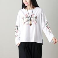 2018年春夏装新款棉麻刺绣长袖宽松大码T恤 民族风上衣女 大码女装(100-140斤)