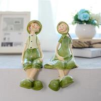 创意欧式现代田园家具房间装饰品结婚礼物吊脚娃娃情侣人物小摆件