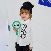 商场同款漫画家童装男童衬衫2020春装新款儿童可爱印花长袖衬衣潮