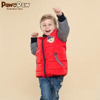【3件2折 到手价:220】Pawinpaw宝英宝卡通小熊童装冬季款男童撞色羽绒服儿童保暖外套