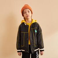 【大牌日3件2折:159】巴拉巴拉旗下巴帝巴帝2019年冬男童中大童时尚连帽夹克儿童羊毛外套