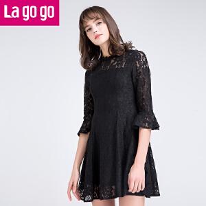 【每满200减100】Lagogo拉谷谷2017春装新款黑色镂空蕾丝喇叭袖打底连衣裙女裙子!