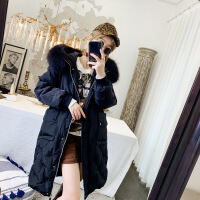 羽绒服女2018冬装新款韩版时尚大毛领中长款白鸭绒显瘦外套加厚潮