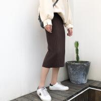 高腰针织半身裙子女韩版秋冬中长款显瘦包臀裙开叉一步裙毛线裙