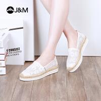 jm快乐玛丽2018夏季新款潮蕾丝松糕镂空鞋厚底女帆布鞋渔夫鞋51238W