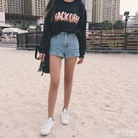 夏季新款韩国ulzzang高腰牛仔短裤女学生宽松显瘦卷边百搭热裤潮
