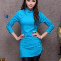 春装 中国风新款 民族风复古纯色立领长袖打底T恤女盘扣上衣