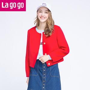 Lagogo拉谷谷2016冬季新款红色长袖小外套女短款百搭毛呢百搭上衣
