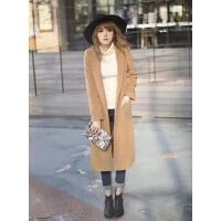 O07127精品秋冬新款单粒扭扣西装领显瘦女长款保暖毛呢外套