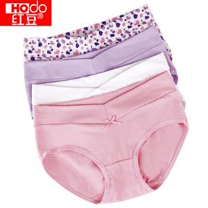 红豆内裤女士内裤纯棉性感V型腰筋卡通少女三角裤 4条礼盒装