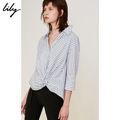 2018夏新款女装全棉条纹七分袖V领心机套头衬衫