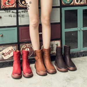 玛菲玛图短靴女英伦风冬季2019新款短筒圆头中跟平底单靴侧拉链牛皮马丁靴5309-25