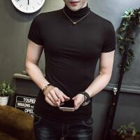 男士韩版紧身纯黑色半袖打底衫加厚加绒高领弹力T恤短袖紧身体