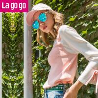 【清仓3折价71.7】Lagogo/拉谷谷2019年秋季新款女装喇叭袖假两件针织衫九分袖上衣