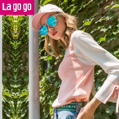 Lagogo/拉谷谷2017年秋季新款女装喇叭袖假两件针织衫九分袖上衣