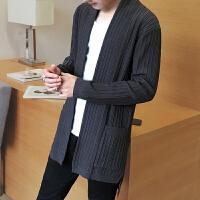 新款秋冬男士毛衣无扣针织开衫薄款韩版修身前短后长毛线衣外套男