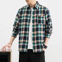 衬衫男港风格子衬衣韩版潮流工装外套长袖宽松痞帅日系很仙的上衣