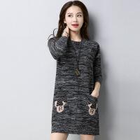网红慵懒风2018新款女装毛衣中长款羊绒衫宽松加厚羊毛针织打底衫