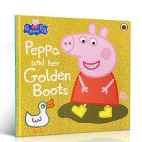 英文原版 Peppa Pig Peppa and Her Golden Boots 粉红猪小妹佩奇 大开本绘本图画故事