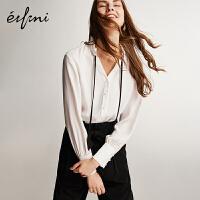 伊芙丽2019春装衬衣上衣白色长袖薄款雪纺衬衫女韩范