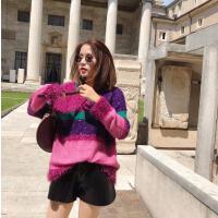 女装秋装2018新款时尚潮亮丝条纹拼色韩版宽松慵懒针织毛衣女套头