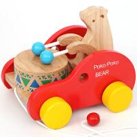拉线车6-12个月婴儿拖拉学步推车玩具1-3周岁男孩宝宝拉绳小拖车