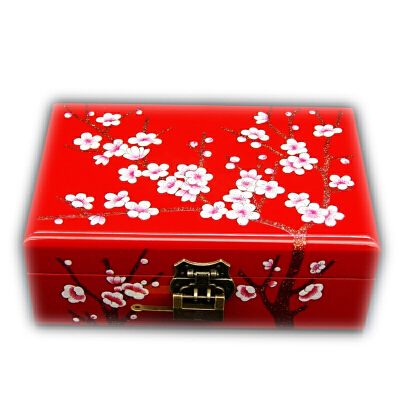 结婚礼物复古手饰盒饰品收纳盒梳妆盒漆器梅花木质首饰盒