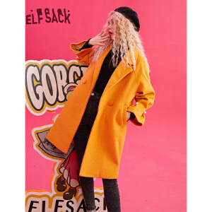 【尾品汇大促】妖精的口袋Y秋冬毛呢外套女韩版潮中长款冬装2018新款呢子大衣女