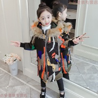 女童迷彩棉衣2018新款韩版儿童中长款中大童棉袄女孩加厚外套 图片色