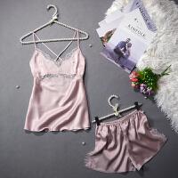 夏冰丝睡衣短裤两件套性感甜美吊带女士大码镂空薄款蕾丝稠家居服
