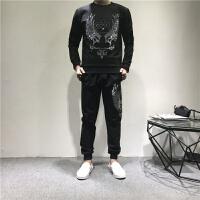 运动套装男士秋季新款卫衣长袖圆领潮流男式两件套休闲时尚 纯色黑 皇冠蜜蜂