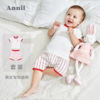 【3件3折:50.7】安奈儿童装婴童男女宝宝短袖针织套装夏装新款