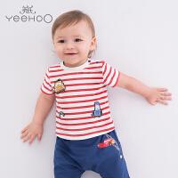 【直降】英氏婴儿T恤夏季  男宝宝短袖条纹汽车上衣 迪士尼系列 183A0071