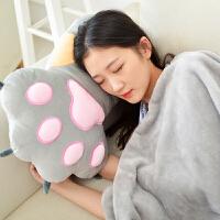 熊掌抱枕被子两用靠垫办公室午睡枕毯子空调被长条枕头