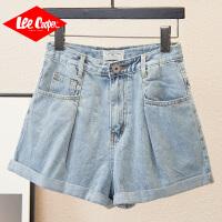 Lee Cooper 新款韩版时尚卷边褪色怀旧复古女阔腿裤牛仔短裤女