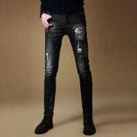 男士牛仔裤新款男装弹力秋季欧美街头风嘻哈裤子男修身破洞牛仔裤 黑灰