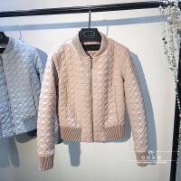 秋冬装韩版格纹绗缝短款女士皮衣小外套显瘦夹棉PU皮夹克棒球服厚