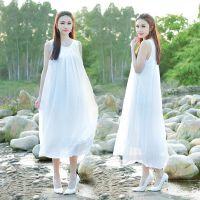 夏季新款文艺复古棉麻森女连衣裙仙女百搭无袖打底背心长裙