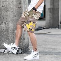 夏季新品个性潮流迷彩工装裤男日系复古休闲裤撞色青少年迷彩短裤