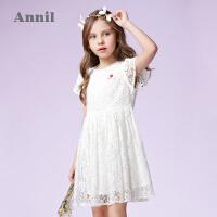 【2件35折:154】安奈儿童装女童蕾丝短袖连衣裙夏装新款