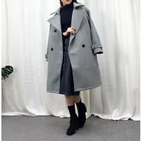 L@5 中长气质毛呢大衣冬季新韩版双排扣呢子外套YQ