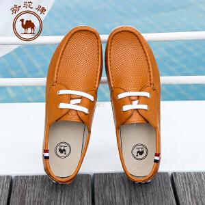 骆驼牌 春季新款 日常休闲男鞋 系带头层牛皮豆豆鞋 耐磨