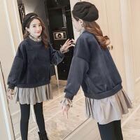 孕妇秋冬装套装时尚款2018新款加绒假两件卫衣托腹裤子两件套