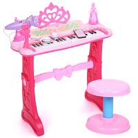 益米 儿童电子琴 早教玩具可插电钢琴 宝宝礼物 配置内存卡 粉 花公主4g卡粉